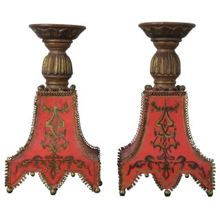 Florentine Painted Toleware Candle Holders Red Gold in Italian French Style - a Pair For Sale