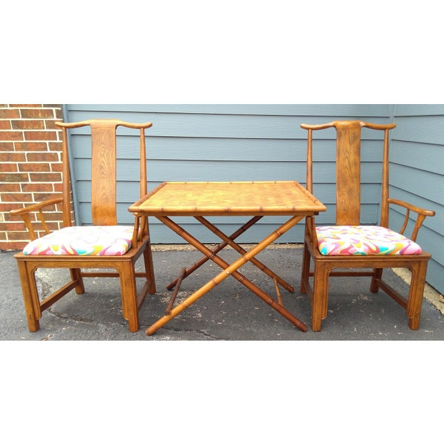 Folding Bamboo Table & Chinoiserie Chairs - Set of 3 For Sale In Dallas - Image 6 of 11