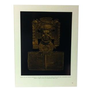 "Circa 1960 ""Mixtec Cast Gold Pendant Representing the Aztec Deity Xipe"" Treasures of Ancient America Mounted Print For Sale"