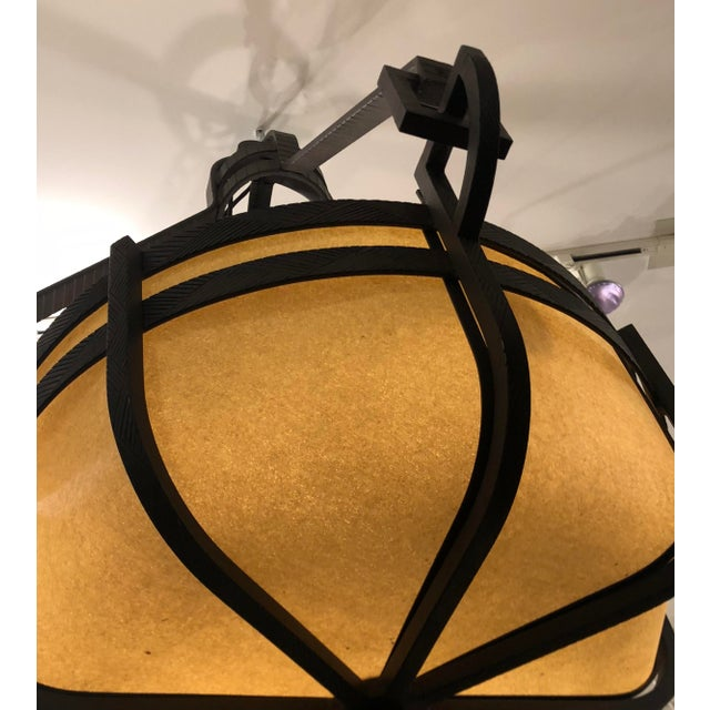 Huge Signed Paul Ferrante Pounded Wrought Iron Manhattan III Chandelier For Sale - Image 9 of 9
