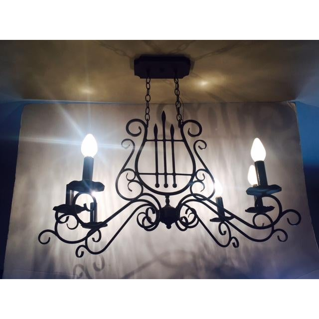 Mediterranean-Style Metal Harp Chandelier For Sale - Image 4 of 6
