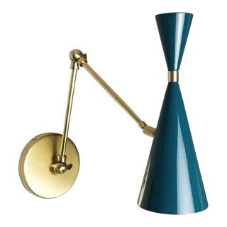Blueprint Lighting Italian Modern Brass and Blue Enamel Monolith Reading Lamp / Sconces For Sale