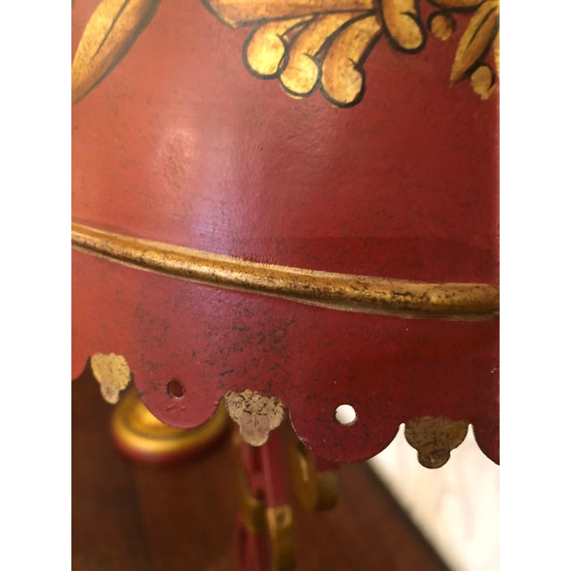 Vintage Deep Red and Gold Tole Table Lamps With Lyre Decoration and Shades - a Pair For Sale - Image 4 of 11