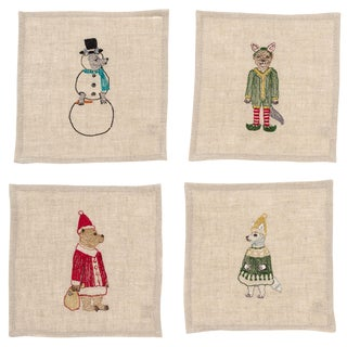 Christmas Cocktail Napkins - Set of 4 For Sale