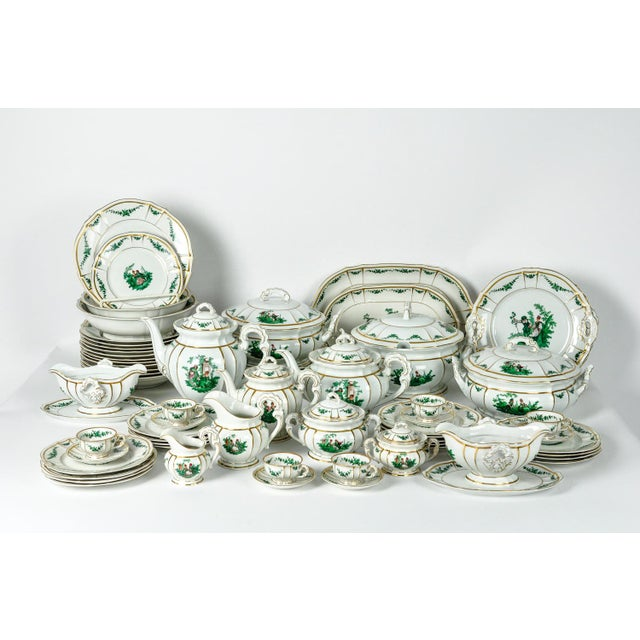 """Antique English Dinnerware service. All together there are 67 pieces. The set includes: 11 soup plates 10"""" X 2"""". 18 Salad..."""