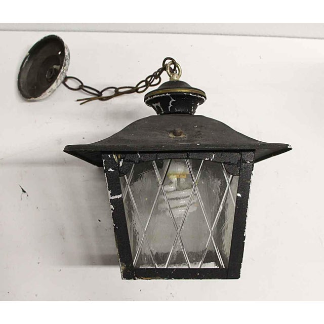 1950s Arts & Crafts Black Metal & Glass Exterior Ceiling Lantern For Sale - Image 5 of 9