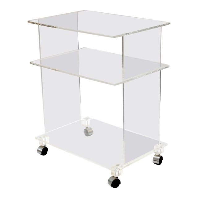 Modern Acrylic Bar Cart or Side Table on Casters For Sale