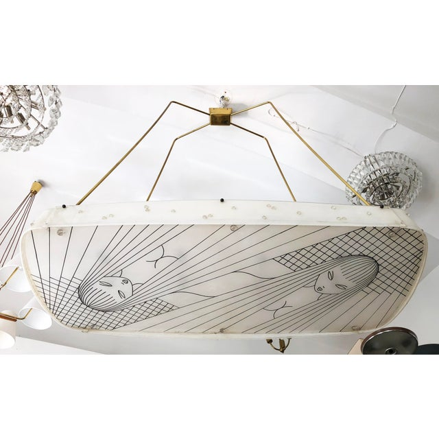 Brass frame with huge plexiglass shades, fitted with eight E27 sockets, made in Austria, Vienna by unknown chandelier...