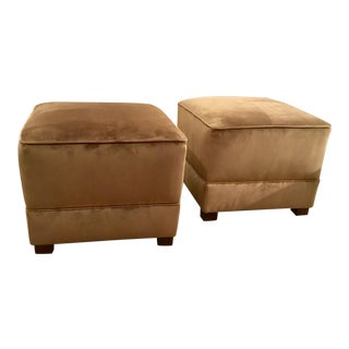 Pair of Henredon Connoisseur Taupe Velvet Ottomans