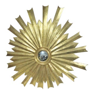 Hollywood Regency Gold Gilt Sunburst Carved Mirror For Sale