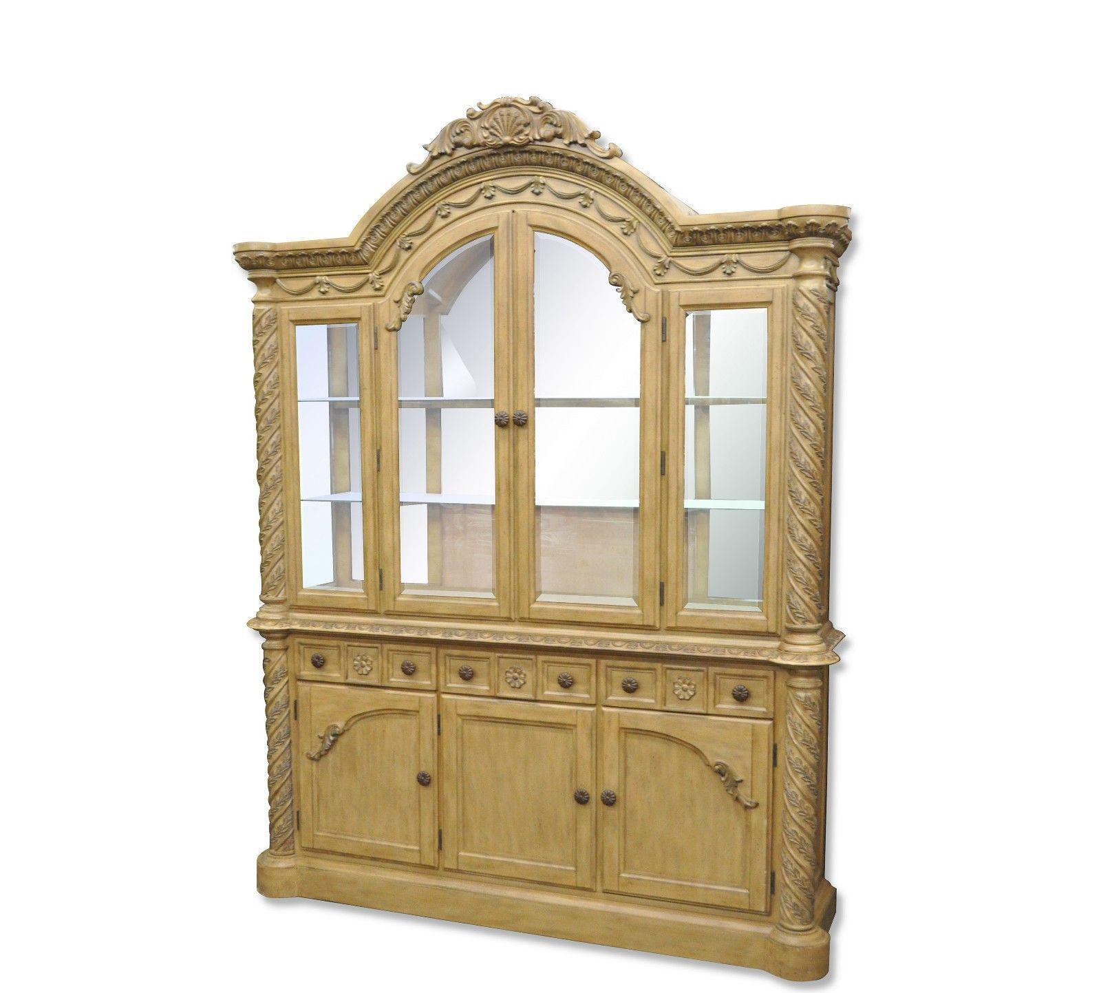 Ashley South Shore Coast Bisque China Cabinet Buffet Breakfront Cupboard    Image 11 Of 11
