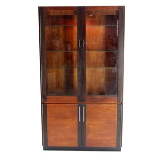 Walnut and Rosewood Modern Vitrine Display Cabinet in the Baughman Style