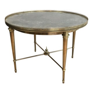 Round Brass Coffee Table with Faux Marble Top Attributed to Maison Ramsay