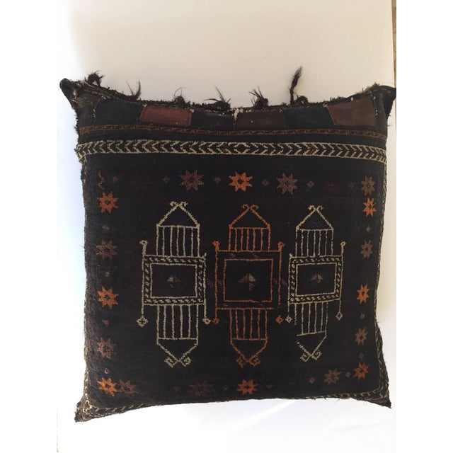 Handmade Antique Collectible Afghan Baluch Saddle Bag Tribal Large Floor Cushion For Sale - Image 10 of 13
