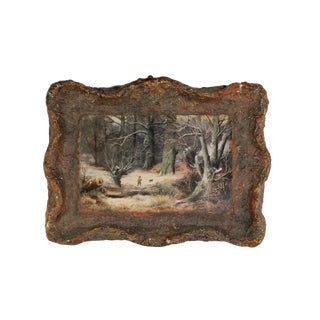 Small Papier Maché & Decoupage Hunter and Dog Wall Plaque For Sale