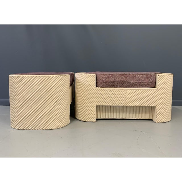 1960s Mid-Century Split Reed Bamboo Upholstered Benches- A Pair For Sale - Image 5 of 10