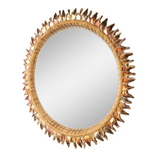 """Large """"Orange Thistle"""" Mirror by Line Vautrin For Sale"""