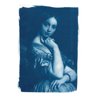 Ingres, Portrait of a Young Girl, Handmade Cyanotype on Watercolor Paper, Limited Serie, A4 For Sale