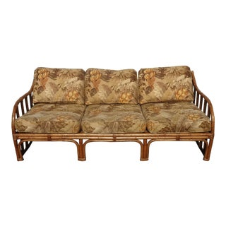 Vintage Mid Century Modern Bamboo Rattan Ficks Reed Brown Floral Sofa Settee For Sale