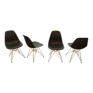 Eames Molded Plastic Shell Side Chairs With Eiffel Wire Base - Set of 4 For Sale
