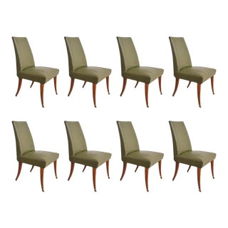 1950s Arturo Pani Stylish Set of 8 Flared Leg Dining Chairs in Mahogany & Brass For Sale