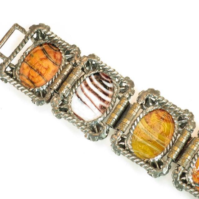 Mid-Century Selro Agate Art Glass Florentine Link Bracelet, 1950s For Sale - Image 11 of 13