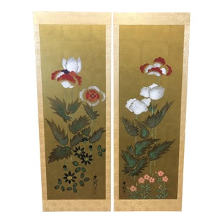 Hand Painted Japanese Wall Panels - A Pair
