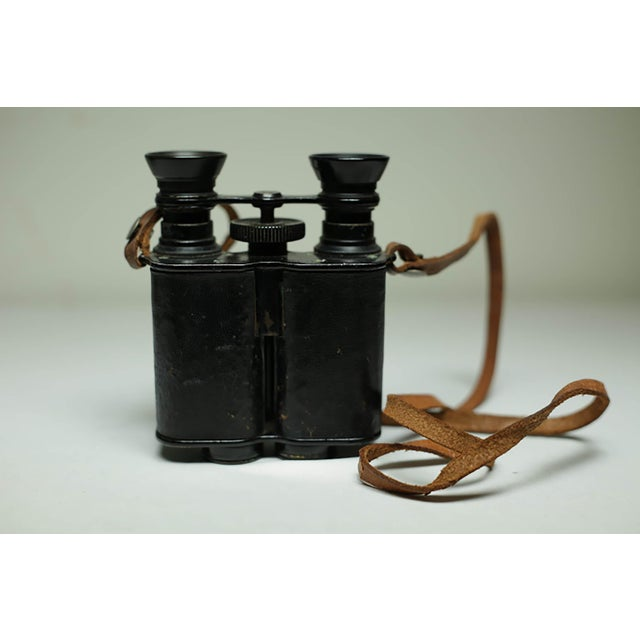 Brown Leather Wrapped Binoculars and Leather Case C. 1940-1950s For Sale - Image 8 of 11
