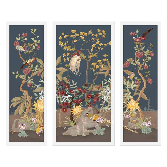 """Large """"Forest and Pheasants, 3 Panels"""" Print by Allison Cosmos, 47"""" X 40"""" For Sale"""