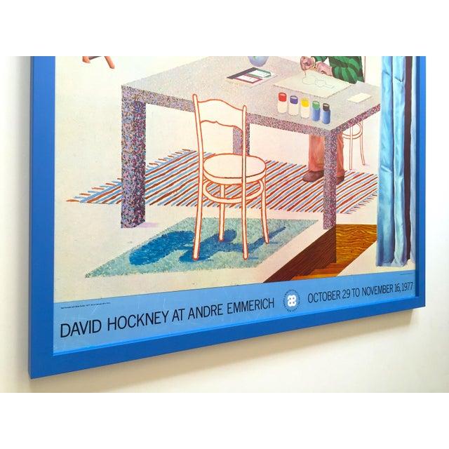 "Wood David Hockney Vintage 1977 Lithograph Print Framed Pop Art Exhibition Poster "" Self Portrait With Blue Guitar "" For Sale - Image 7 of 13"