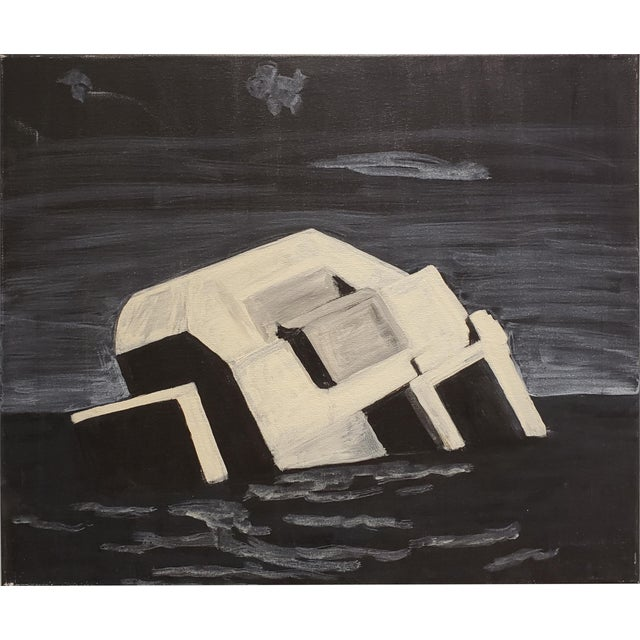 2010s Contemporary Night Painting of Beach Bunker Ruin by Lionel Lamy For Sale - Image 5 of 5