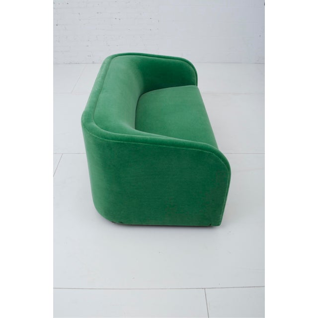 Textile Post Modern Barrel Back Settee in Green Mohair For Sale - Image 7 of 9