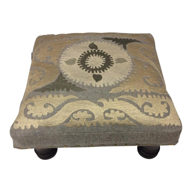 Suzani Embroidered Wood Footstool For Sale