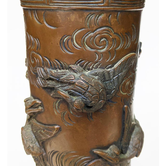 Early 20th Century Asian Antique Chinese Elephant Footed & Heron Bird Bronze Vases - a Pair For Sale In New York - Image 6 of 13