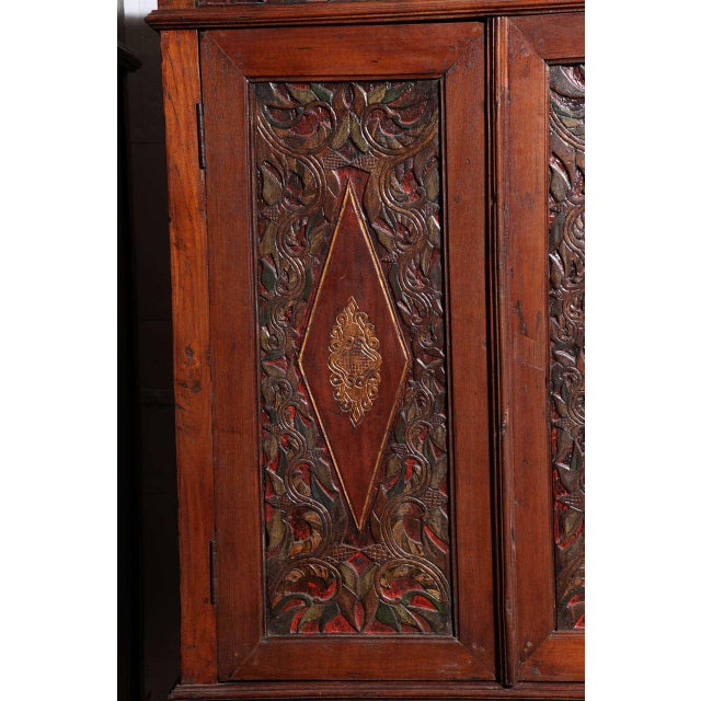 Javanese Antique Javanese Teakwood Cabinet with Detailed Carvings, Early 20th Century For Sale - Image 3 of 11