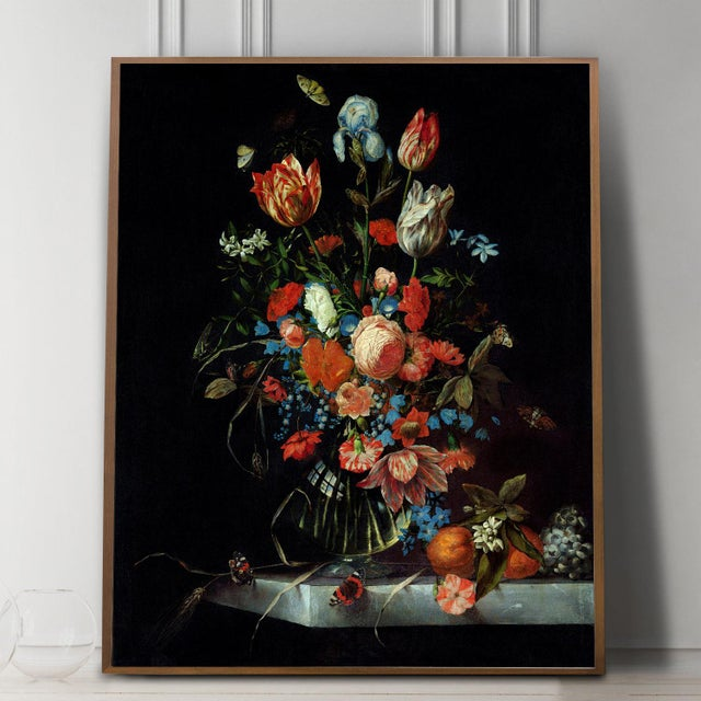 Rustic European Ottmar Elliger Dutch Still Life With Flowers From 1673 Unframed Giclée on Paper For Sale - Image 3 of 8