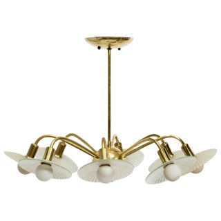 Stilnovo Brass Chandelier With Glass Bobeches For Sale
