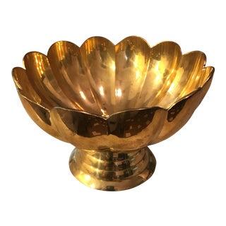 Vintage Brass Scalloped Bowl