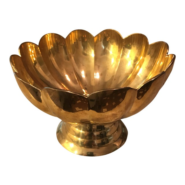 Vintage Brass Scalloped Bowl For Sale