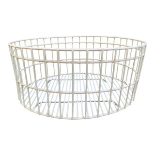 White Plastic Coated American Industrial Round Wire Basket For Sale