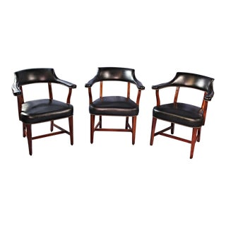 1968 Mid-Century Leather Club Arm Chairs - Set of 3 For Sale