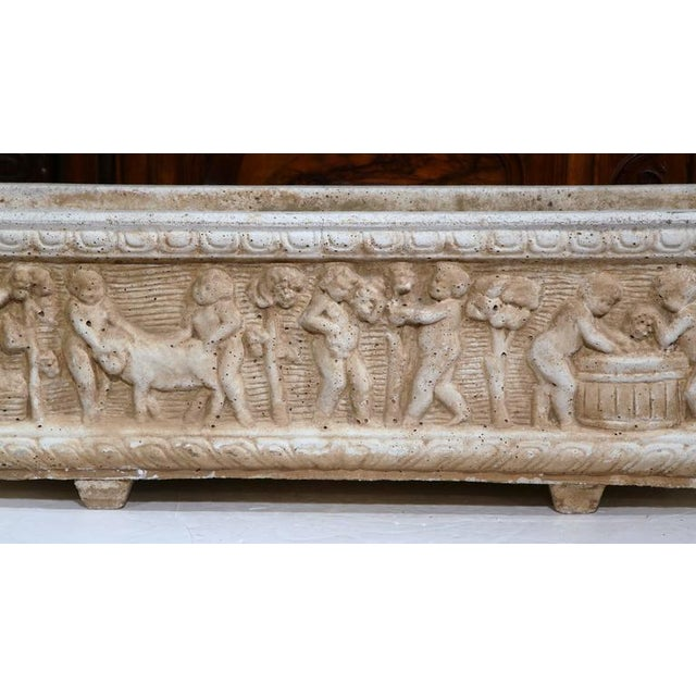 Children's 19th Century French Carved Stone Jardiniere With Children Figural Motifs For Sale - Image 3 of 9