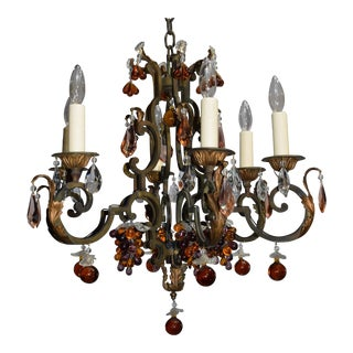 Antique chandelier, iron with crystal fruit For Sale