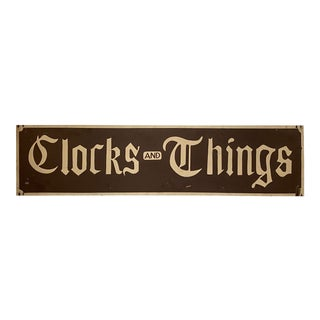 Vintage Hand-Painted Two Sided Clocks & Things Store Sign For Sale