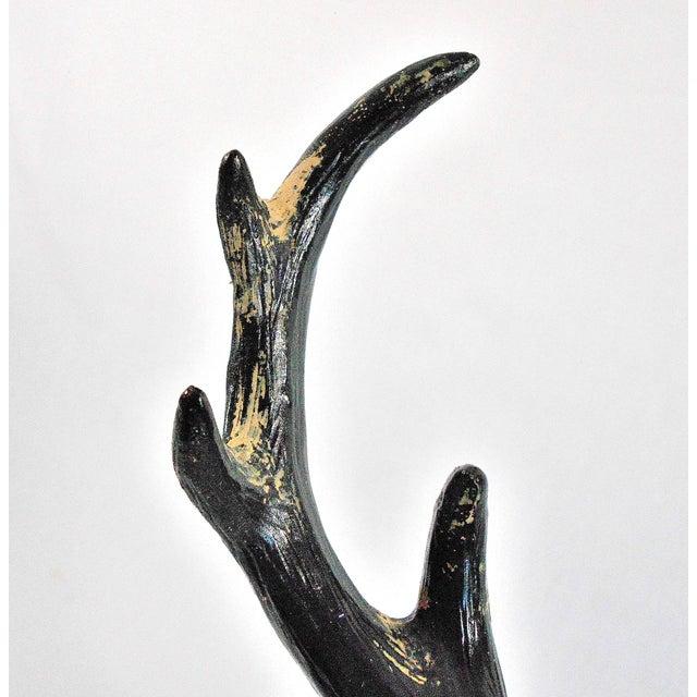 Ebony Deer Skull on Pedestal Sculpture For Sale - Image 9 of 11
