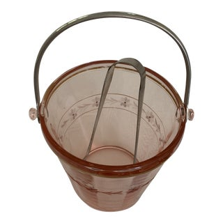 Pink Depression Glass Ice Bucket With Removable Handle For Sale