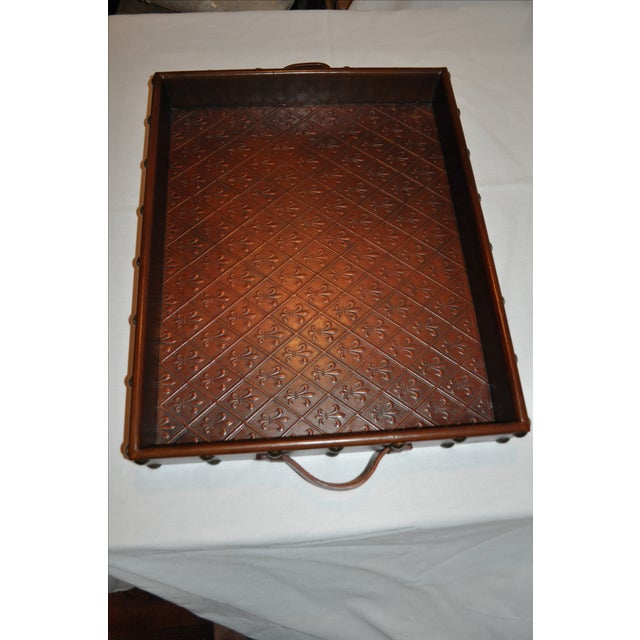 Embossed Leather Tray by Sarreid Ltd. - Image 6 of 6
