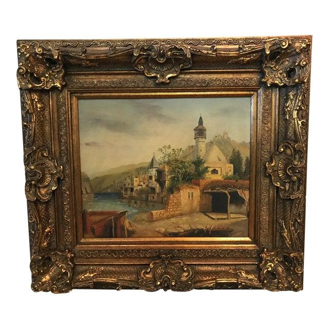 German Village Scene Oil Painting in Huge Gilt Frame For Sale
