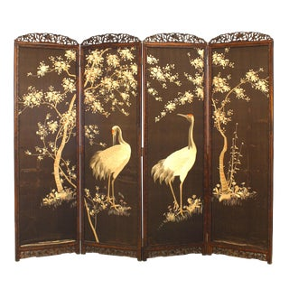 19th Century Japanese 4-Fold Embroidered Screen For Sale