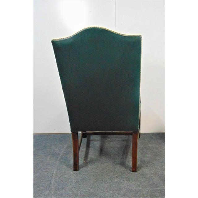 Hickory Chair Co Mahogany Leather Library Chairs - a Pair For Sale In Philadelphia - Image 6 of 9